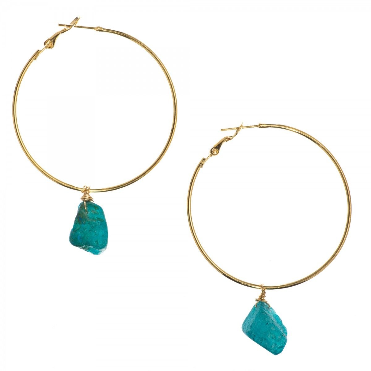 Luxe Wire Wrapped Teal Blue Nugget Drop Hoop Earrings - Luxe Group ...