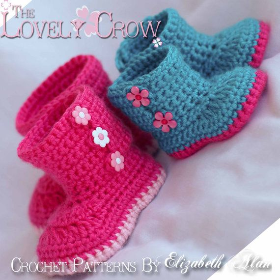Boots Crochet Pattern Boots for Baby Garden Boots - 4 sizes ...