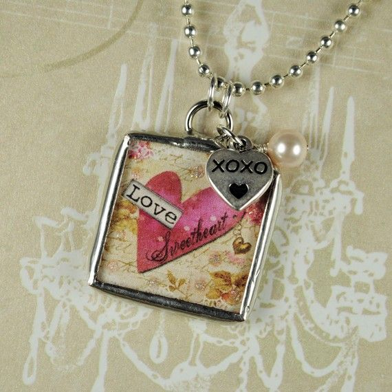 Mother Daughter Necklace Heart Pendant Personalized by glassrealm, $18.95