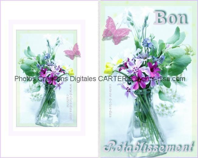 Carte Bon Retablissement A Imprimer Fleurs Printanieres 3 D