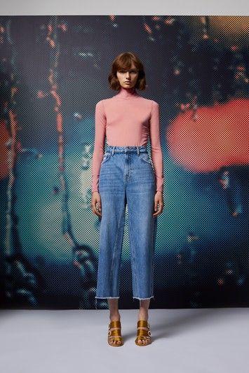 Mid Blue Cropped Wide Leg Jeans