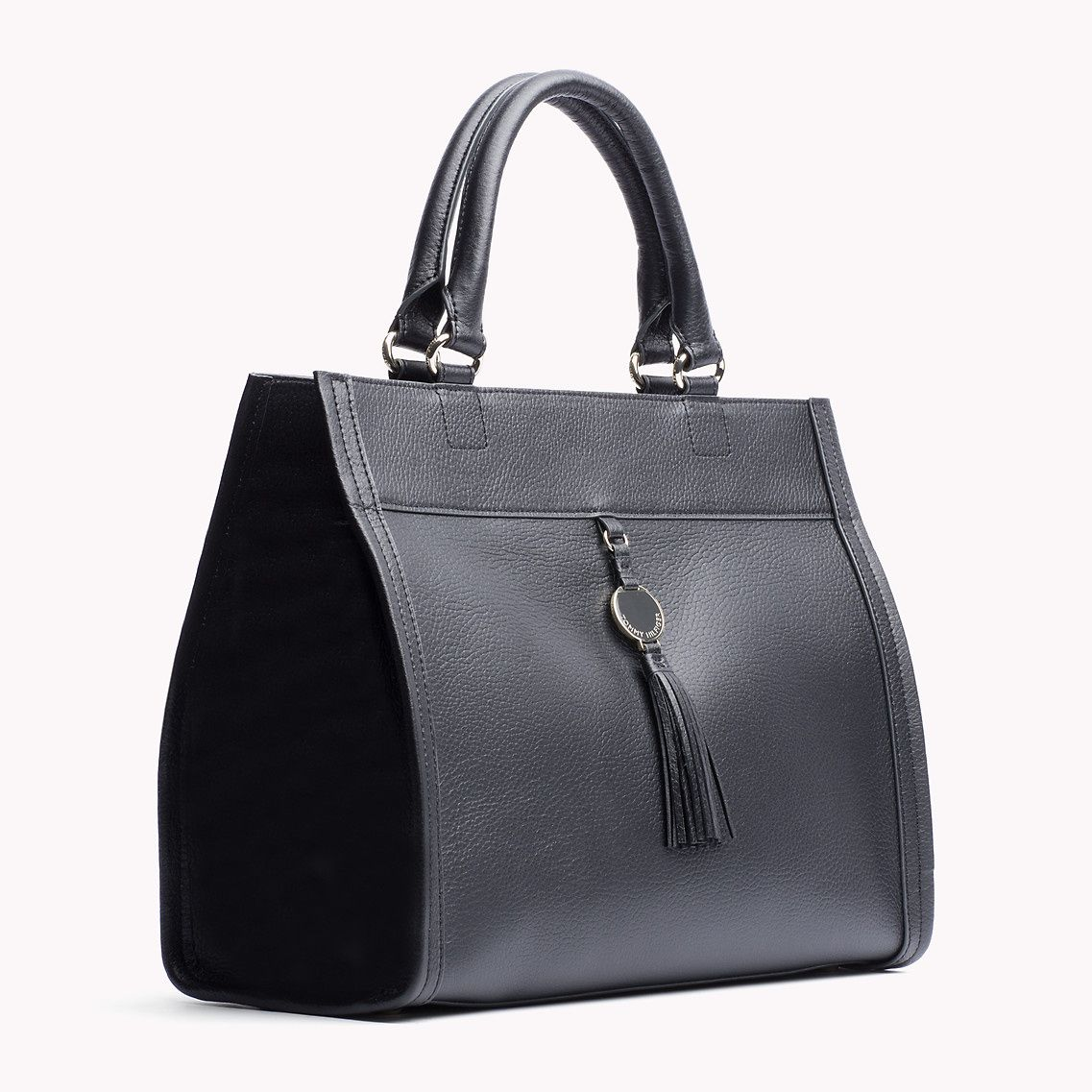 b0f0062f Tommy Hilfiger Clara Tote Bag. Elegant tote crafted from pebbled leather  with contrasting, topstitched seams throughout.