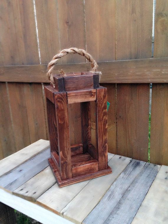 Garden Centre: Rustic Reclaimed Wood Lantern Candle Holder. Home Decor