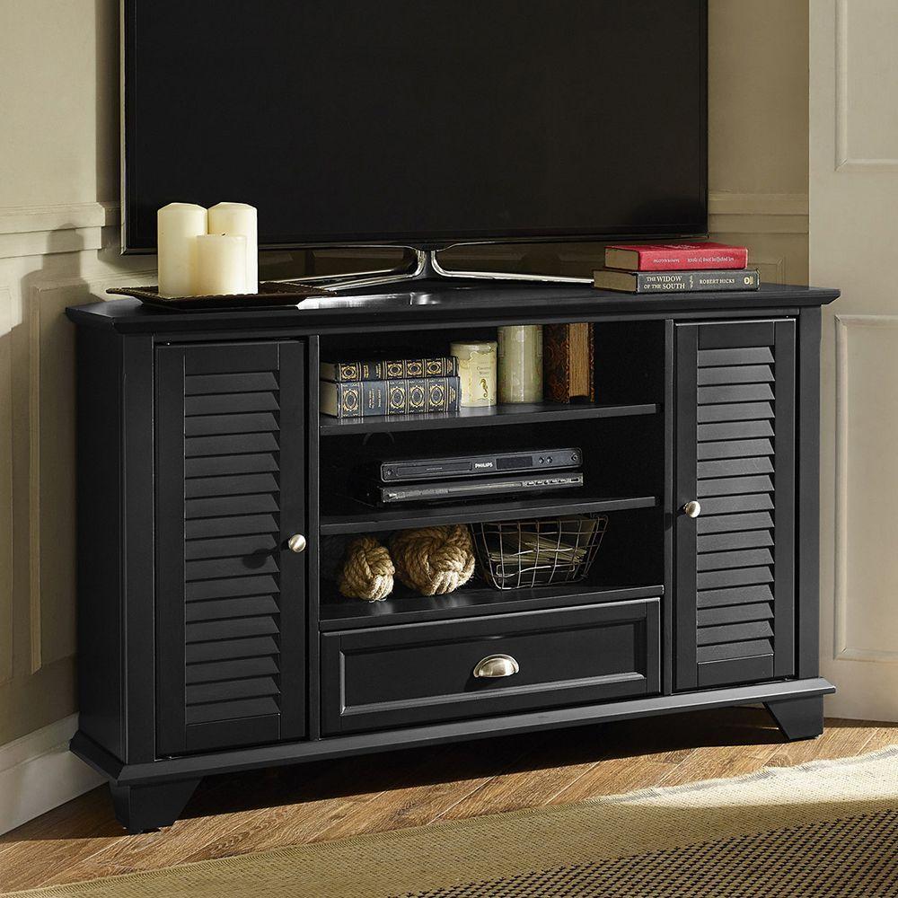 Crosley Furniture Palmetto 50 Inch Corner Tv Stand Black Black Corner Tv Stand Corner Tv Stand Corner Tv 50 inch corner tv stand
