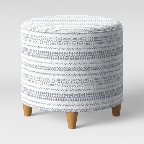 Round Woven Ottoman Blue White Threshold White Blue In