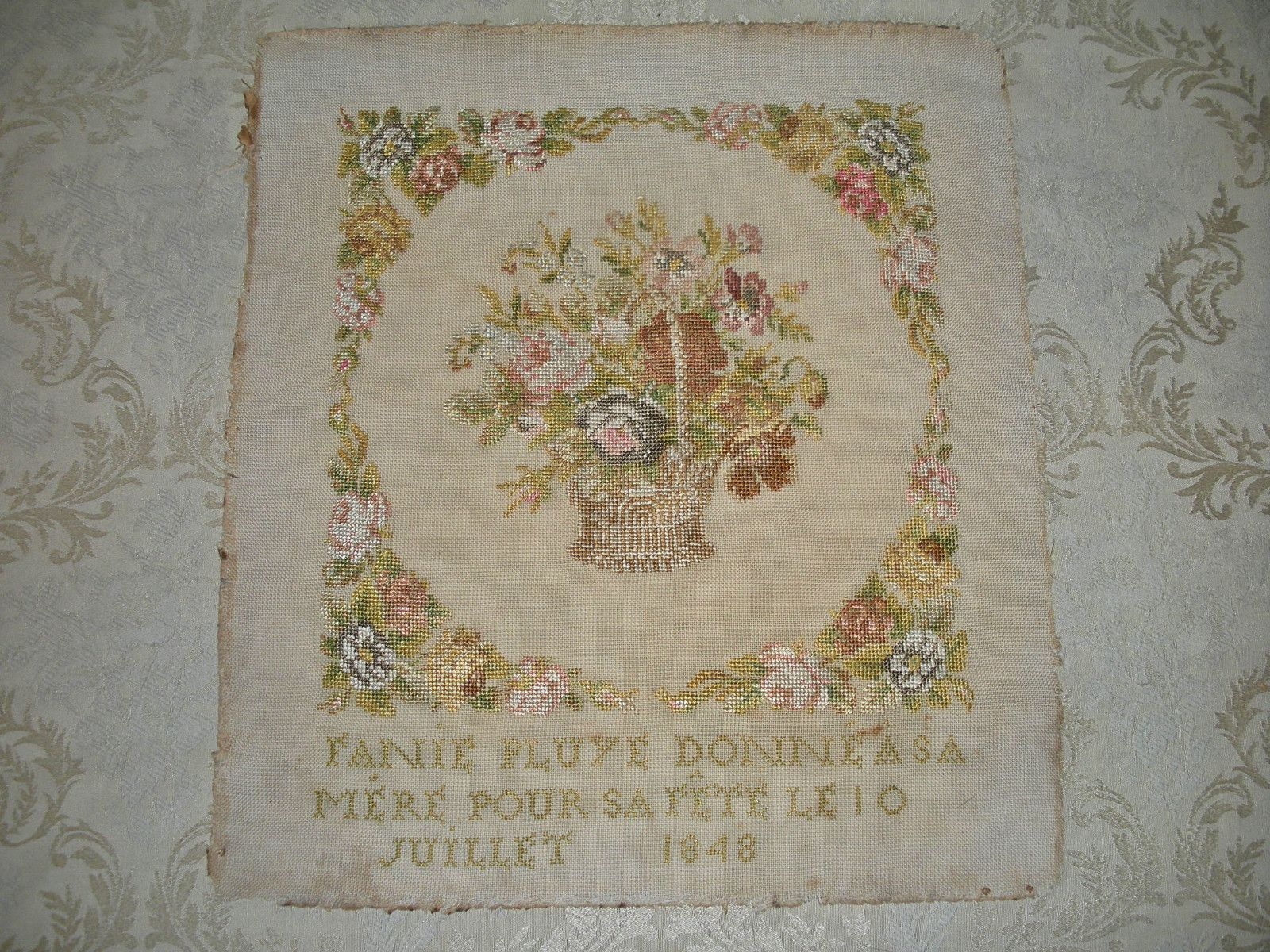 A Beautiful Mid 19th Century FRENCH Sampler Dated 1848