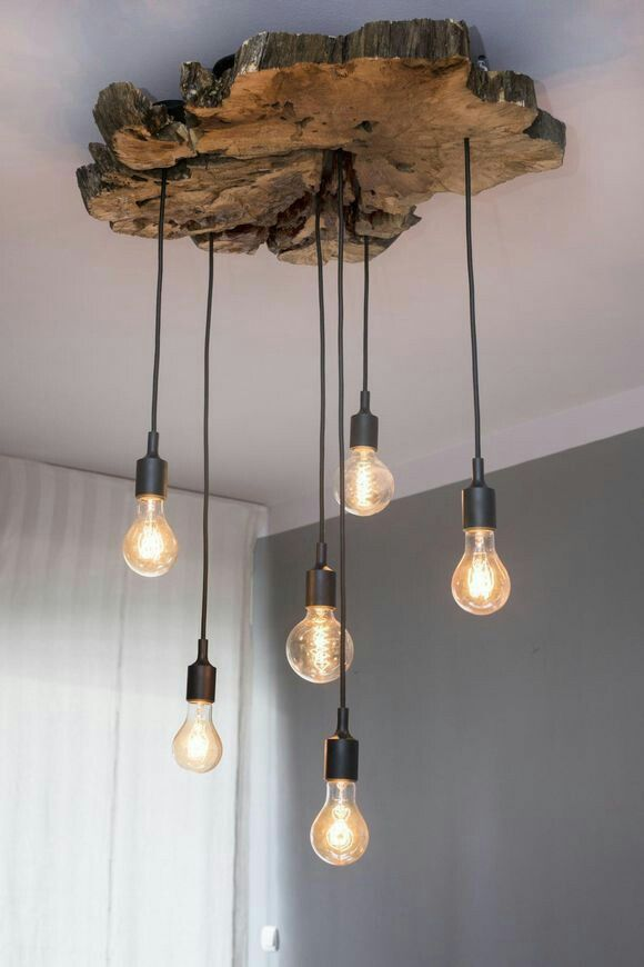 Из простых лампочек и слэба | Деревенские светильники