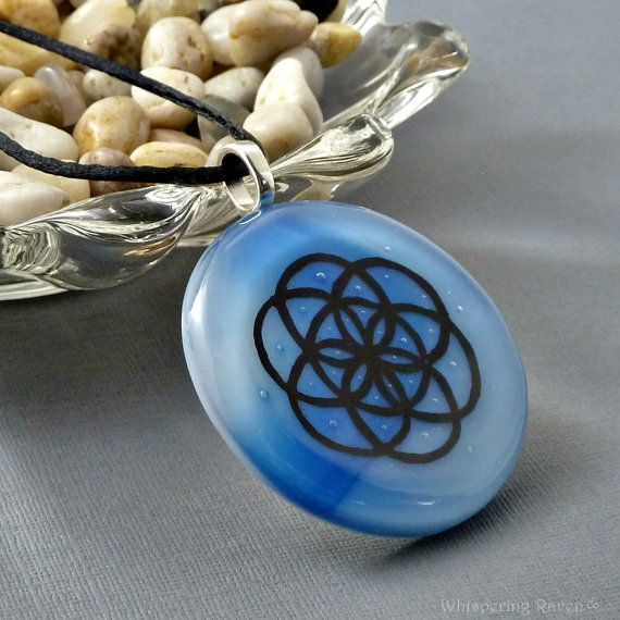 Large Round Blue Sacred Geometry Pendant Necklace - Blue Seed Of Life Fused Glass Pendant Necklace