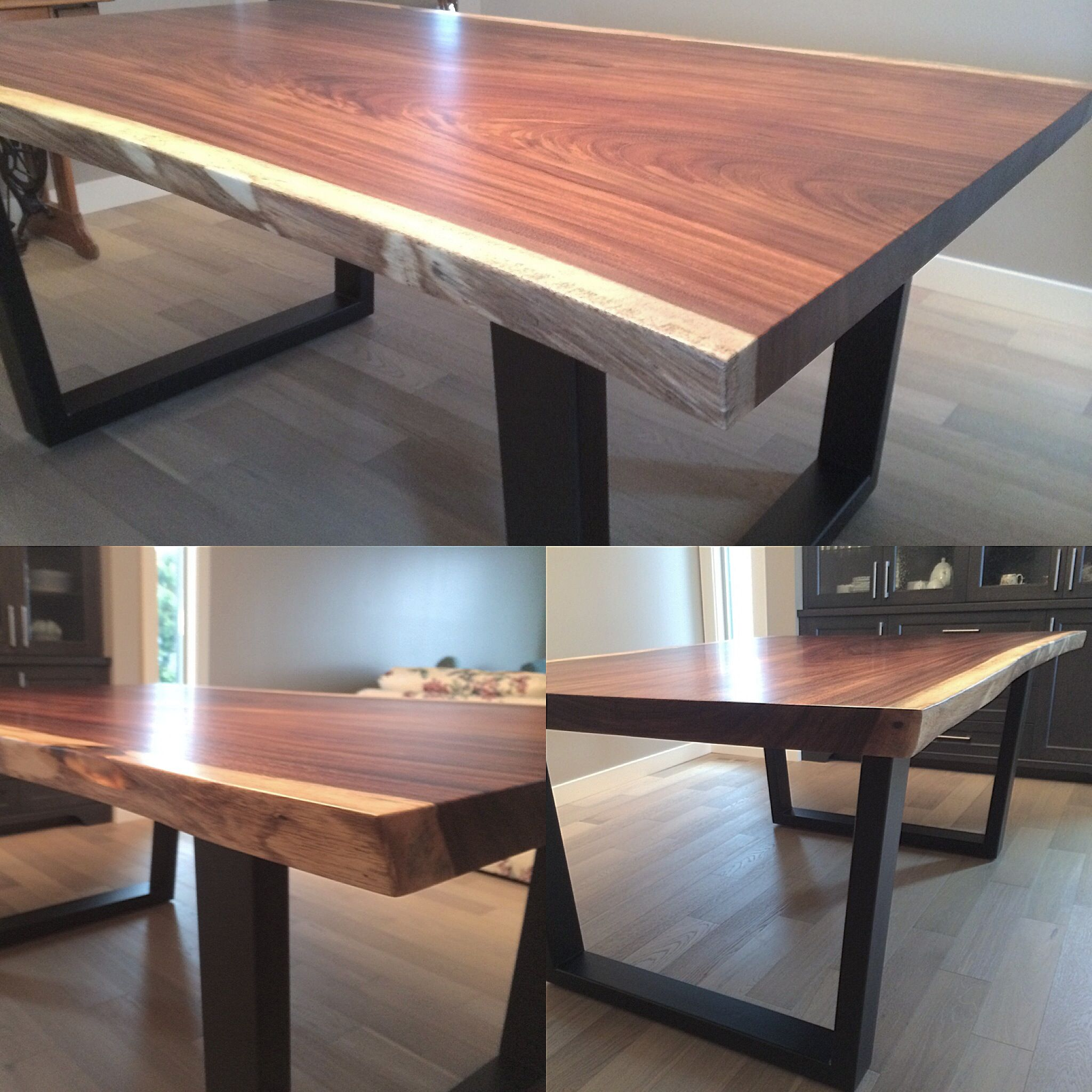 Parota Live Edge Dining Table. Steel Base.