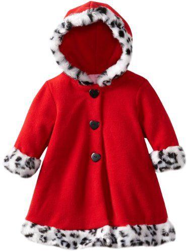 985810602 Good Lad Baby-Girls Infant Fleece Coat Hooded Leopard Fur Trim