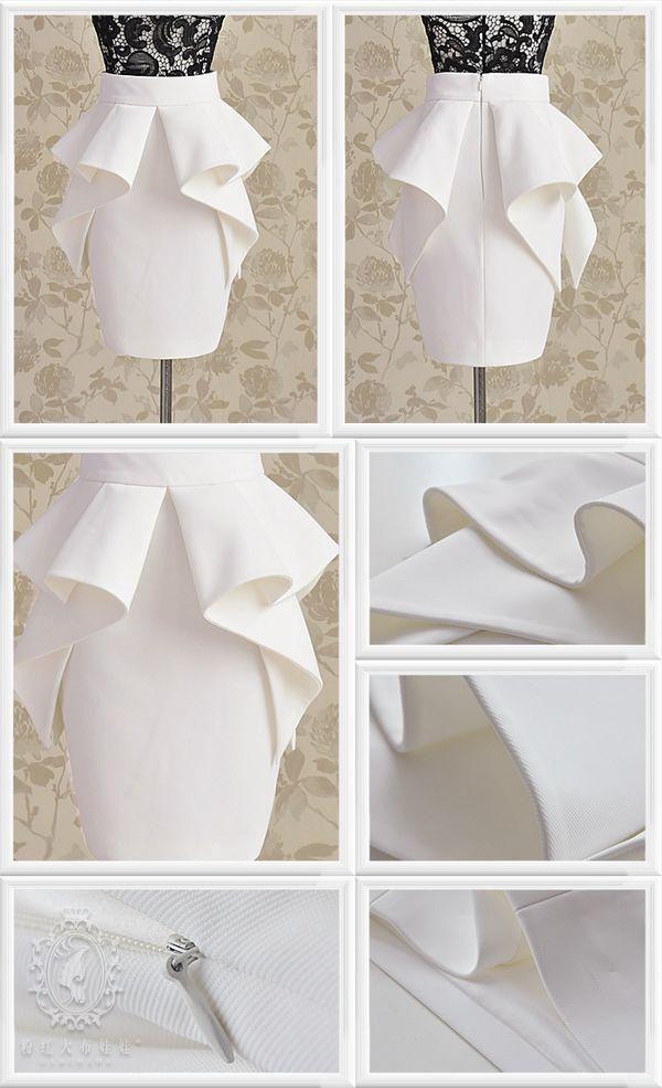 Ruffle Peplum Pencil Skirt - Dabuwawa | YESSTYLE | confeccion ...