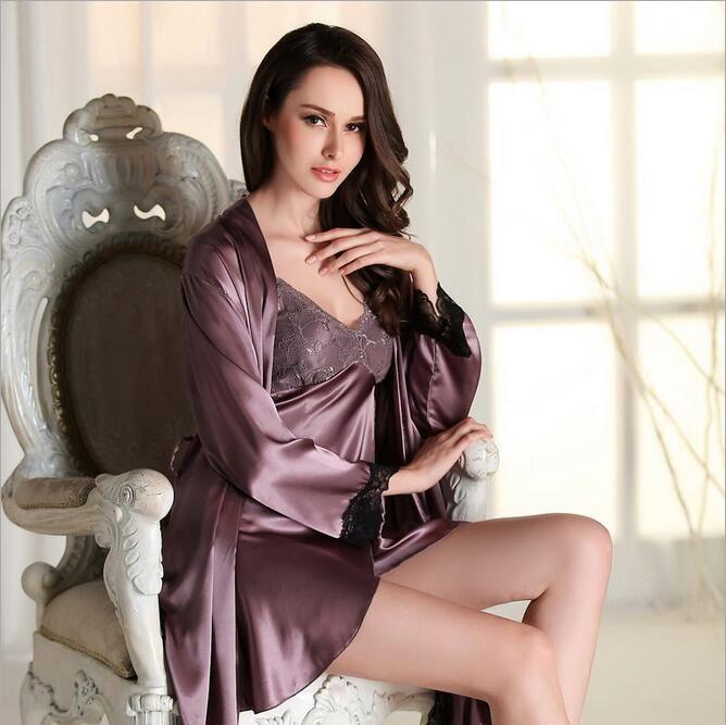 Nightgown Pijama Pyjamas Women Silk Robe Silk Summer Pajamas Night  Two-Piece Pijama With Robe Plus Big Size badd6b8d7