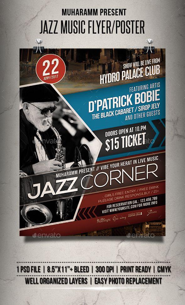 Jazz Music Flyer / Poster \u2014 Photoshop PSD #poster template #concert