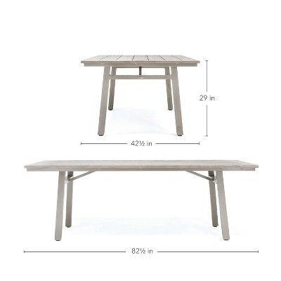 Fine Colfax Rectangular Aluminum Outdoor Dining Table Blue Oak Theyellowbook Wood Chair Design Ideas Theyellowbookinfo