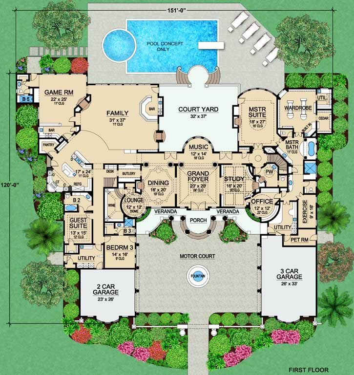 Luxury Style House Plans 9253 Square Foot Home 2 Story 4 Bedroom And 5 Bath 5 Garage Stalls By House Plans Mansion Mansion Floor Plan Luxury House Plans