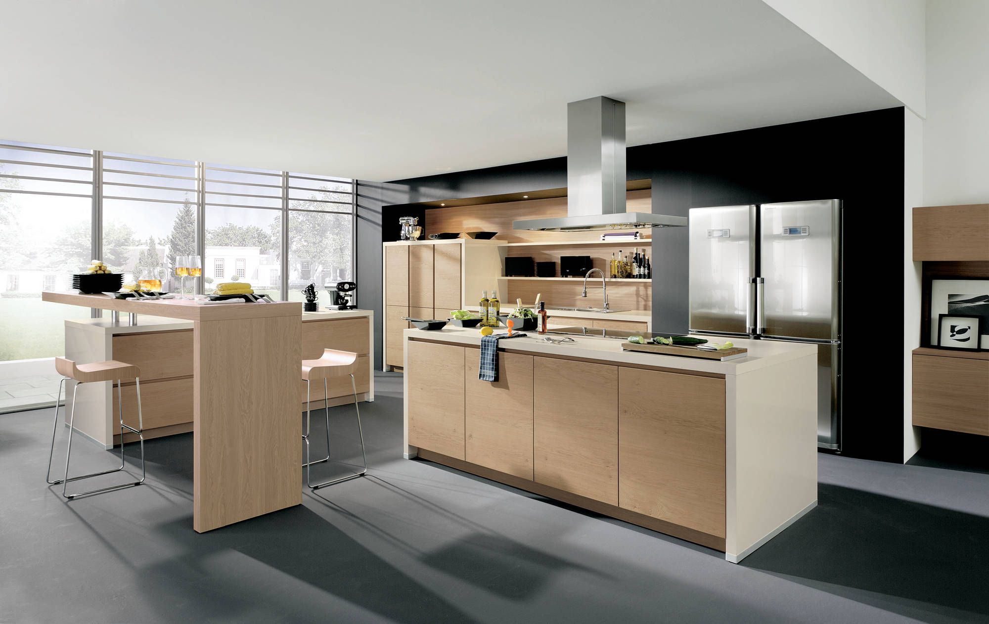 Solid Wood Veneer With Horizontal Grain Create A Feeling Of Earthiness Light Wood Kitchens Modern Kitchen Cabinet Design Modern Wooden Kitchen
