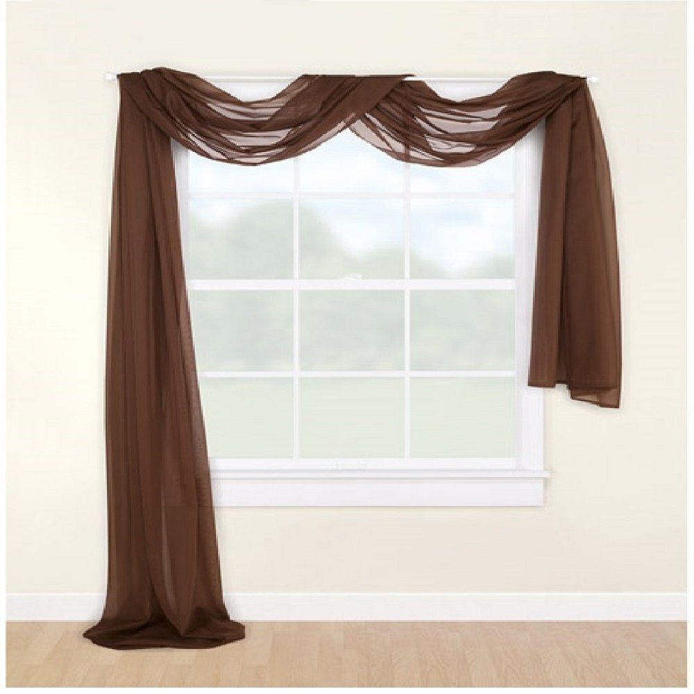 Amazon.com: Redbirdlinen 1pc Brown Sheer Valance Scarf 216