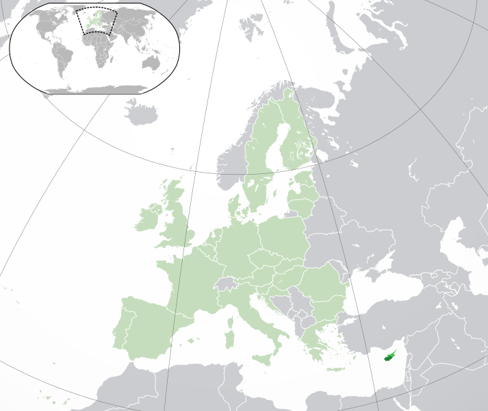 Location of Cyprus (darker and lighter green), indicating Northern Cyprus (lighter green) and the rest of the European Union (light green)