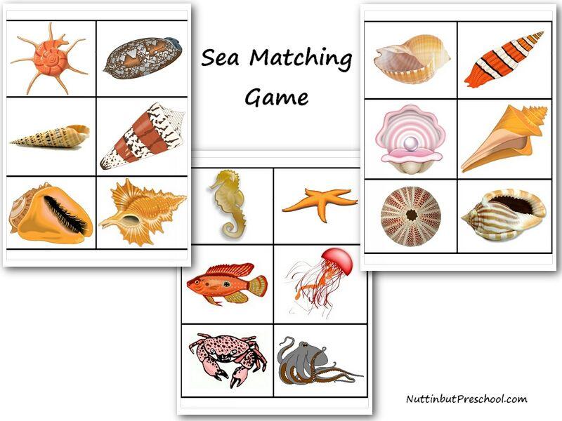 Sea Memory Matching Game Nuttin\' But Preschool | El Mar | Pinterest ...
