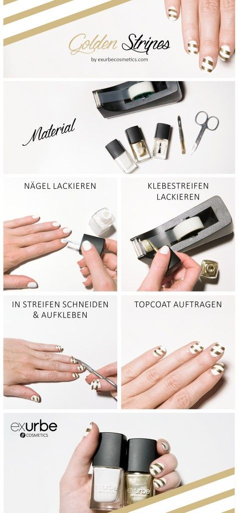 Golden Stripes - Beautiful and easy X-mas nail tutorial #nails #nail #nagellack #style #cute #beauty #beautiful #pretty #pretty #girl #girls #stylish #sparkles # styles #glitter #glitzer #nailart #art #opi #essie #essieliebe #dior #chanel #polish #nailswag #tutorial #DIY