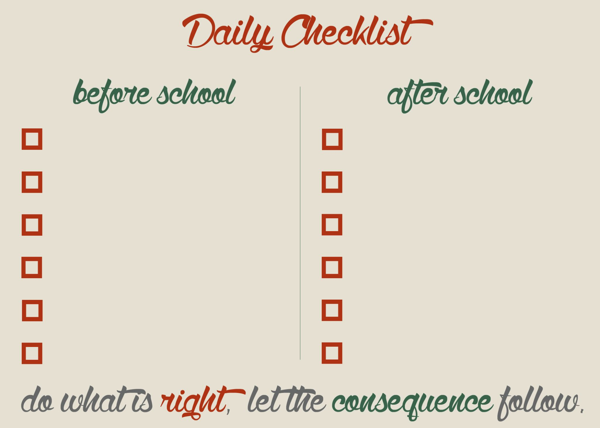 Daily Checklist BlankJpg  File Shared From Box  Parenting