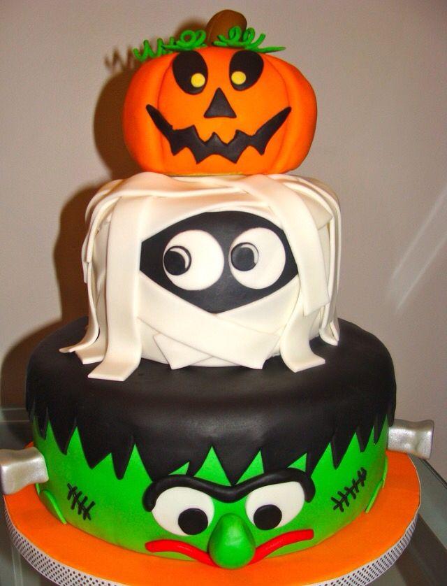 Marvelous 3 Layer Halloween Cake Halloween Birthday Cakes Halloween Cake Funny Birthday Cards Online Alyptdamsfinfo