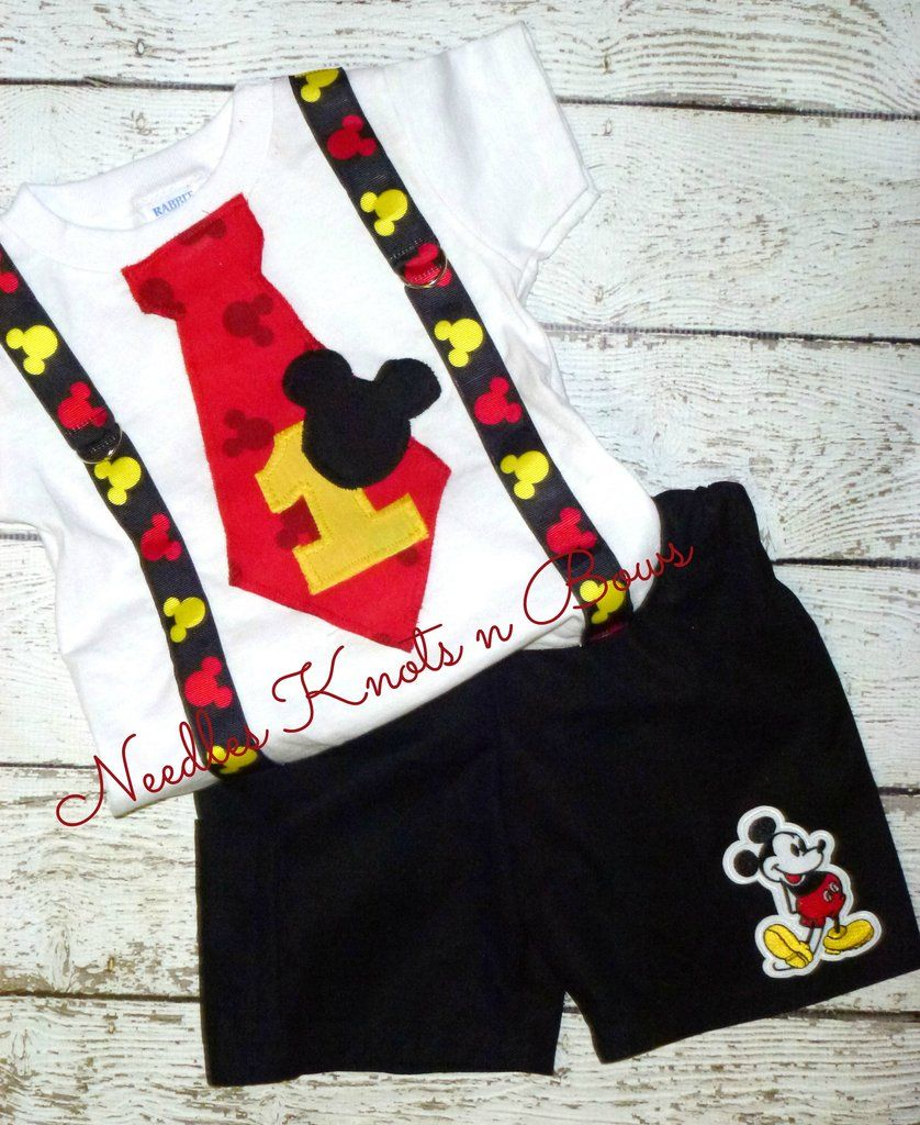 Boys Mickey Mouse First Birthday Outfit, Mickey Mouse