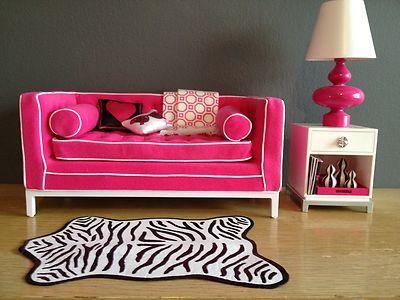 Jonathan Adler Barbie couch table lamp Blythe Monster High furniture ...
