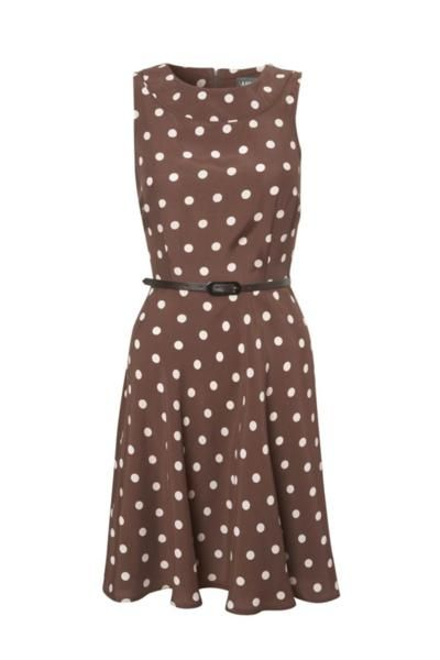 Brown Dress With White Dots So Cute Now And With A