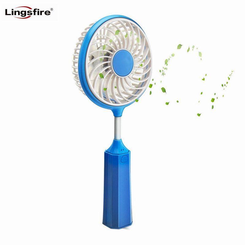 In Style; Flexible Portable Fan Handheld Badminton Racket Mini Fan Built-in Battery Rechargeable Usb Fan For Home Office And Outdoors Fashionable