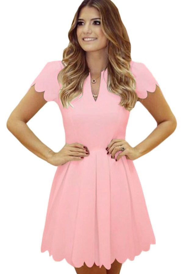 Patineuses Robes Rose Doux Petoncle Robe Plissee Pas Cher www.modebuy.com @Modebuy #Modebuy #Rose #me #dress
