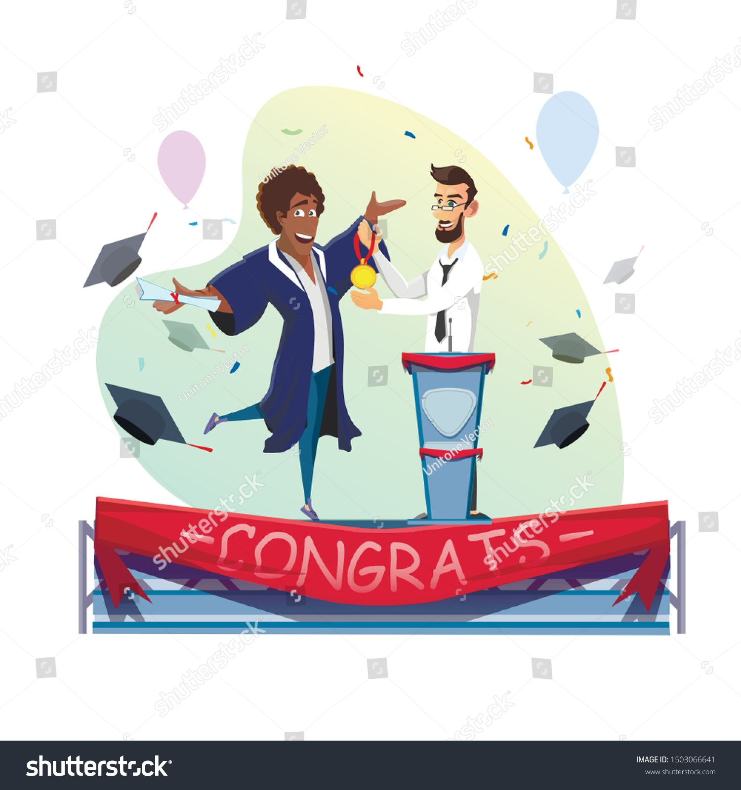 Happy AfroAmerican Student Receive Gold Medal and Degree Certificate from Professor or Rector Stage with Red Tape and Congrats Lettering Confetti Balloons Flying Hats Des...