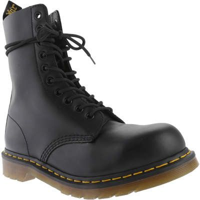 b82120518be9a Dr. Martens Men s 1919 10-Eye Steel Toe Boot - Black Fine Haircell Shoes