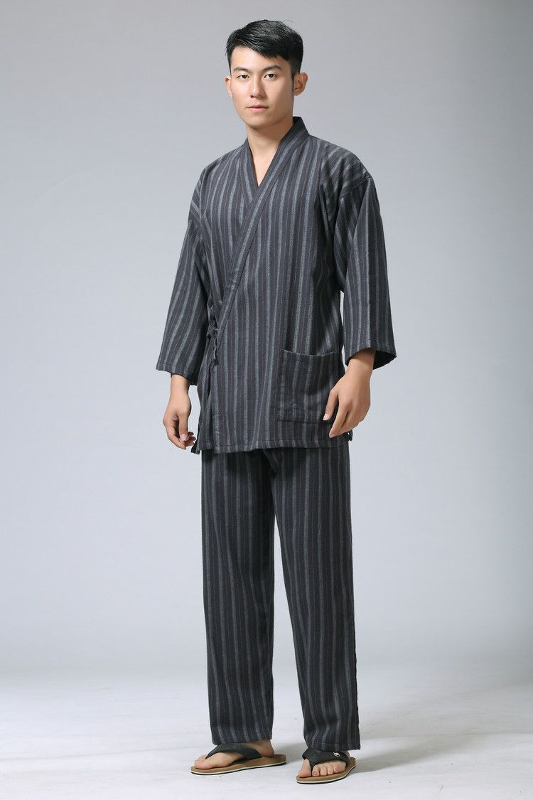 6e18c48dfff Cotton Yukata Japanese Kimono Traditional Japanese Men s Clothing Japanese  Pajamas Men s Sleepwear Lounge Home Clothing Suits-in Asia   Pacific  Islands ...