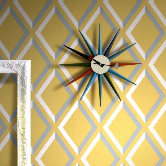 Pompeian Wallpaper Grey white and yellow diamond panel effect ...