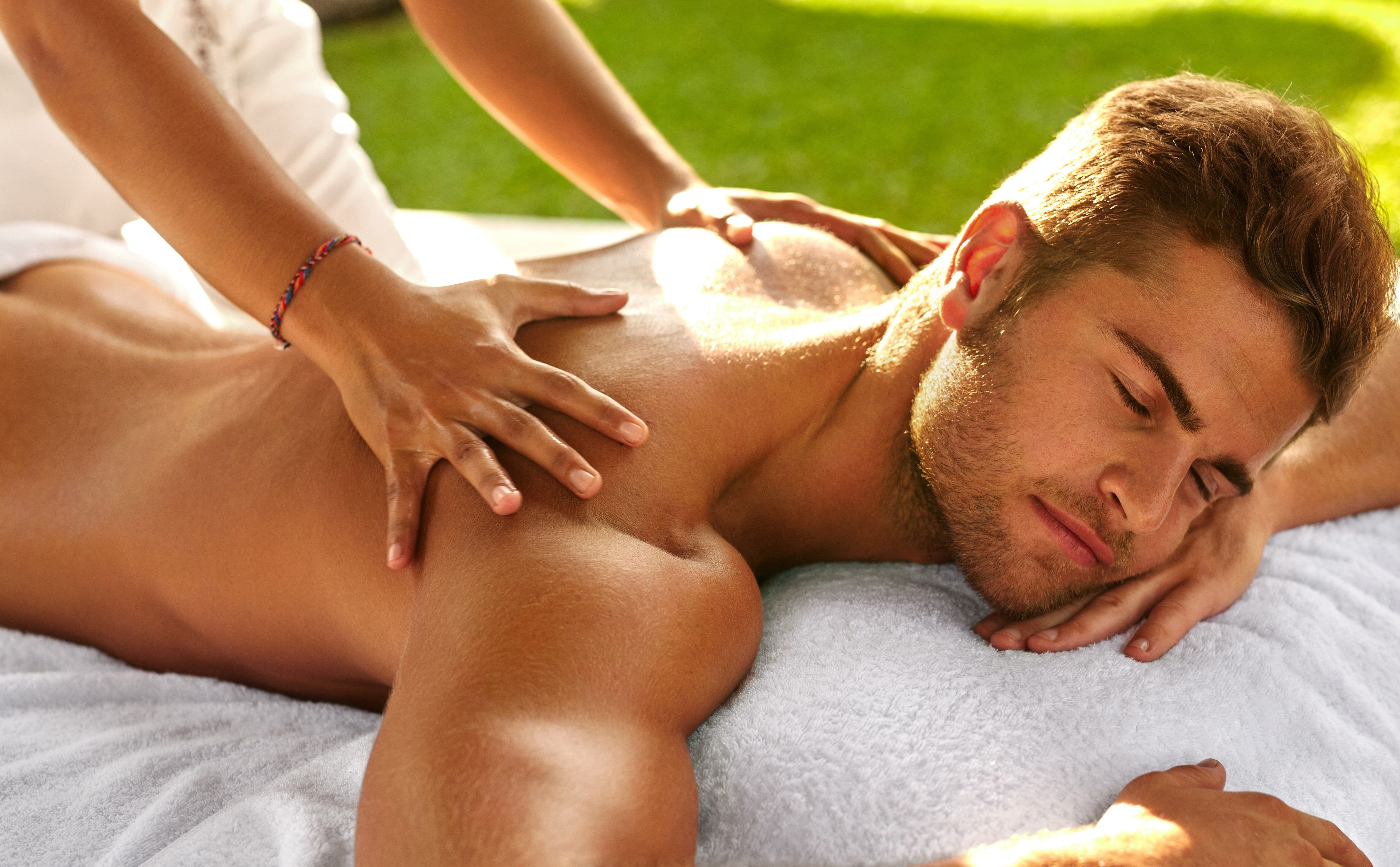 Naked straight gets massage by gay guy