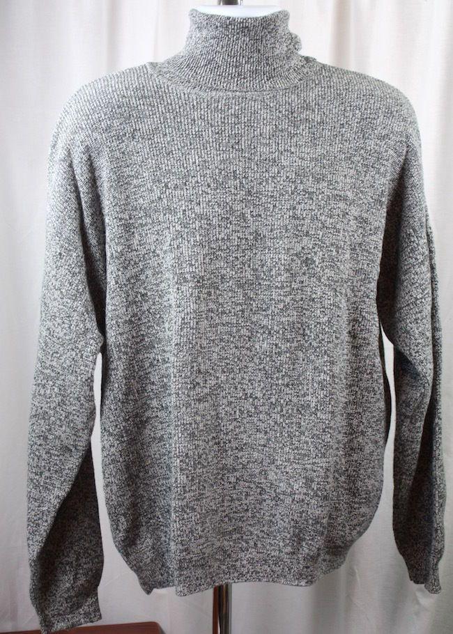 Eddie Bauer Mens Heather Grey Long Sleeve 100% Cotton Turtleneck ...
