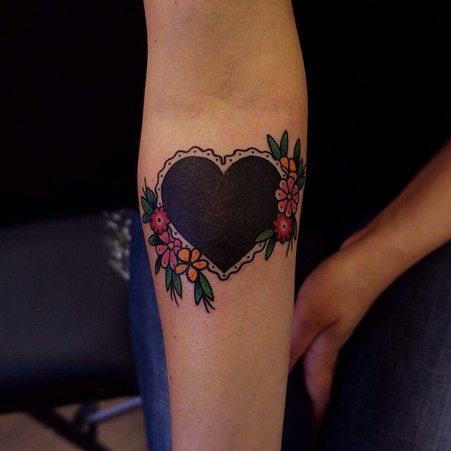 Classy looking black heart with colored flowers tattoos for Solid black tattoo cover up