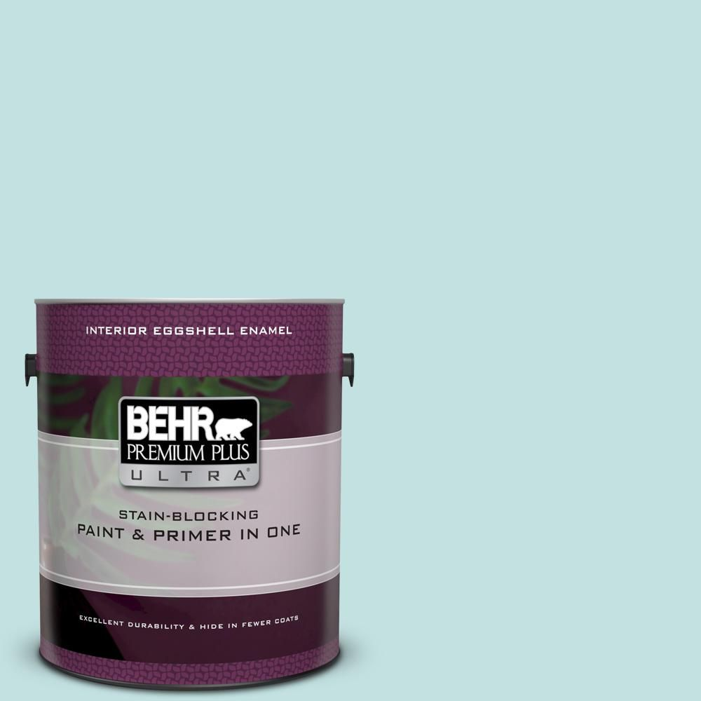 Behr Ultra 1 Gal T17 04 Peek A Blue Extra Durable Eggshell Enamel Interior Paint Primer 275001 The Home Depot Interior Paint Exterior Paint Premium Plus