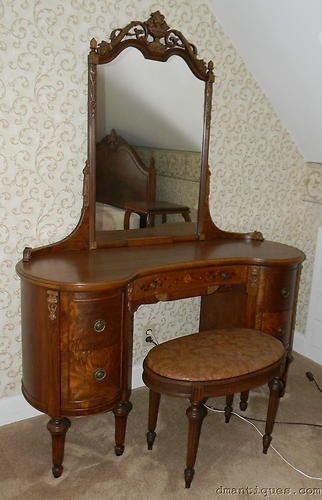 Vintage Deco Walnut Kidney Shape Vanity Dresser W Mirror Inlaid Flowers Carved Real Wood Furniture Vintage Furniture Victorian Furniture