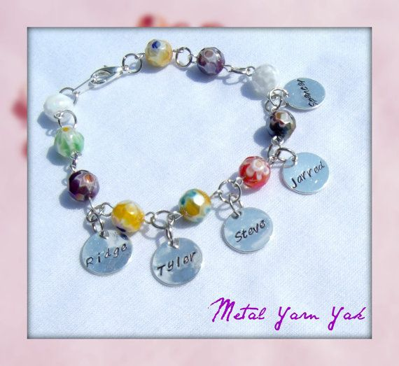 $24.00 Mother's/Grandmother's Bracelet, Hand-Stamped & Personalized