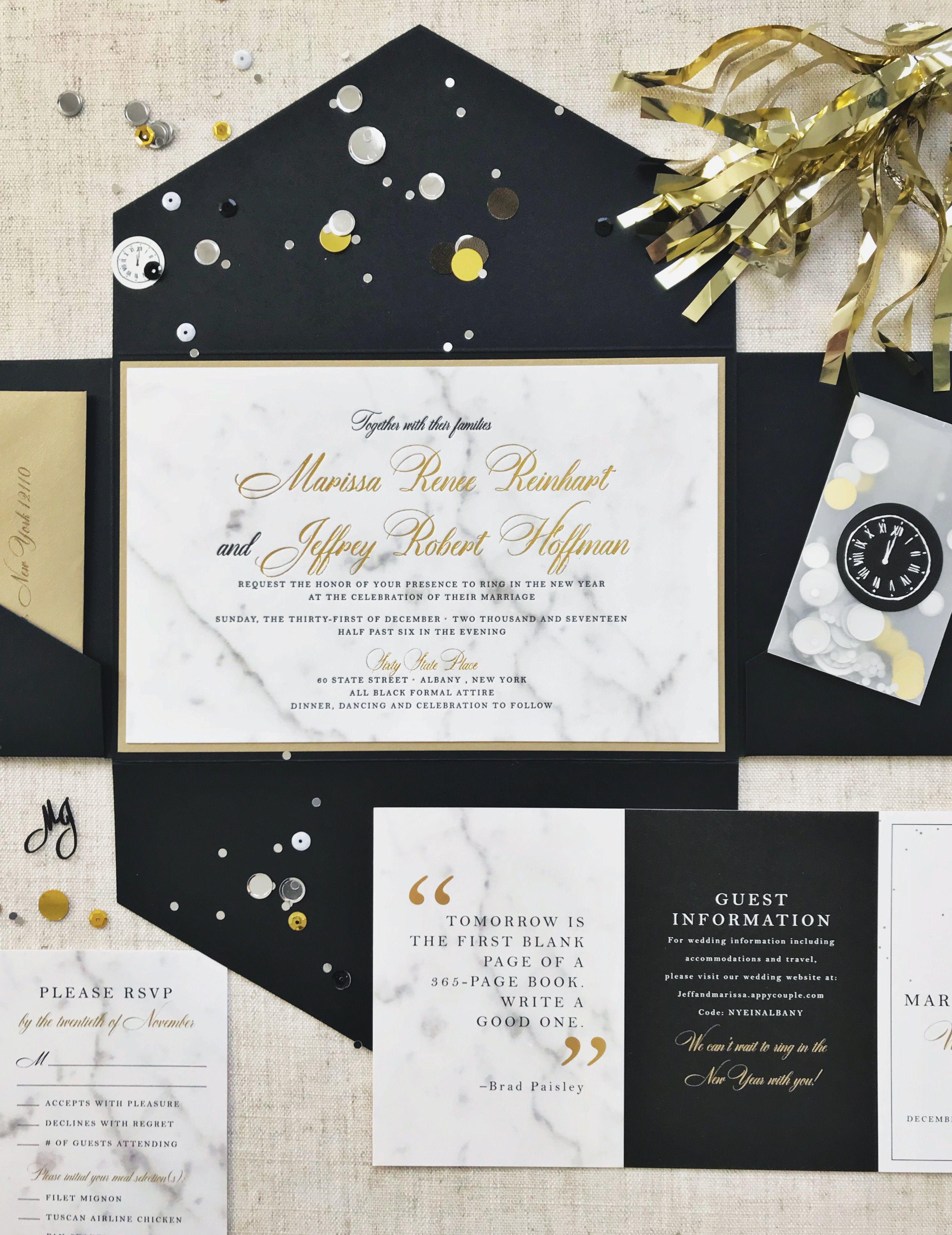 New Years Eve Wedding Invitation, New Years Eve Wedding, Marble ...