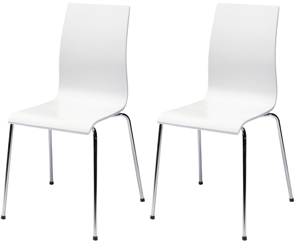 Bella White Dining Chair With Chrome
