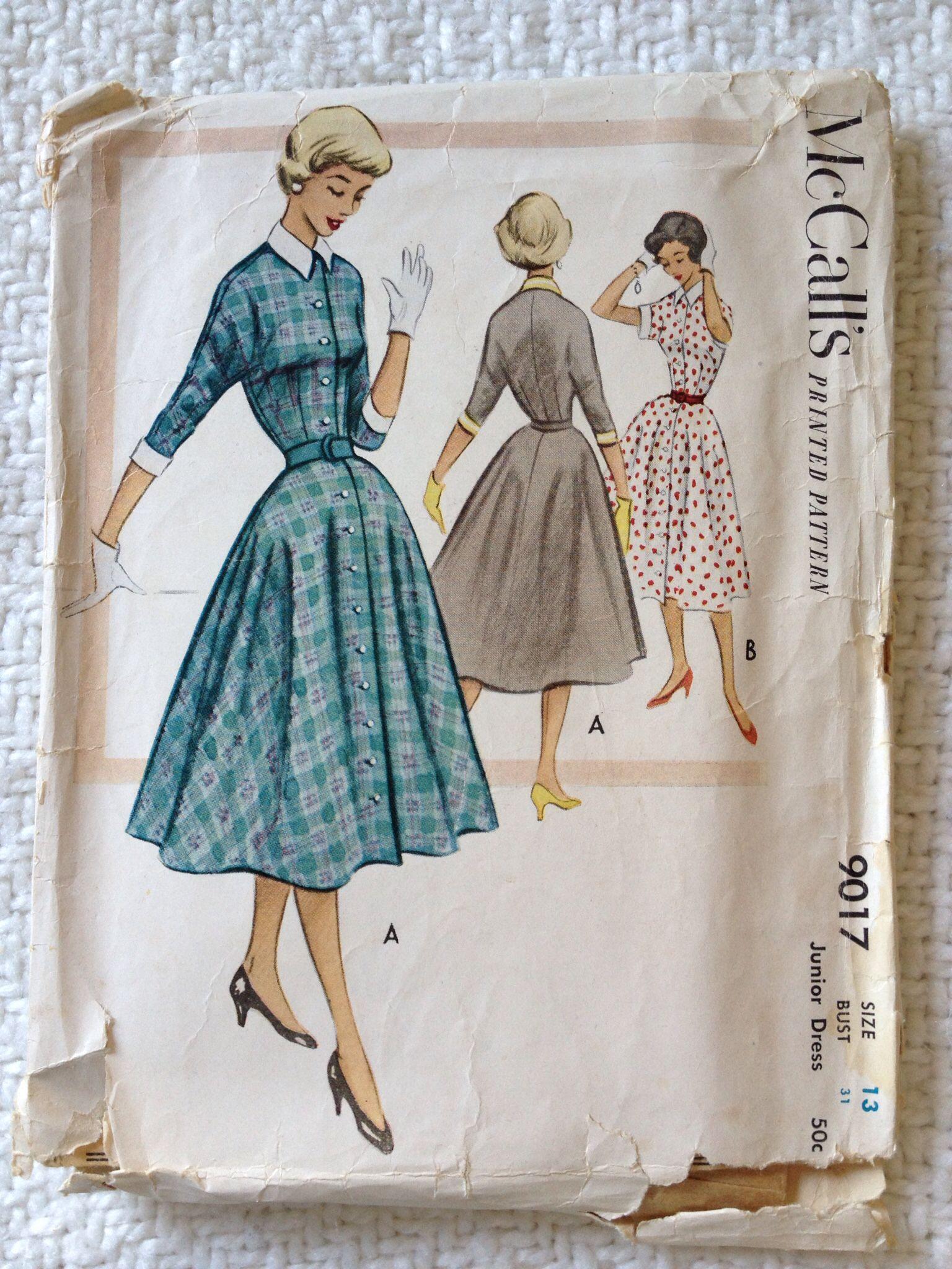 Mccalls 9017 size13 junior dress 1952