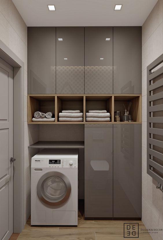 Lavanderia armários em madeira e laca cinza