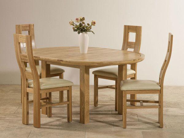 Knightsbridge Natural Solid Oak Dining Set 4ft Round