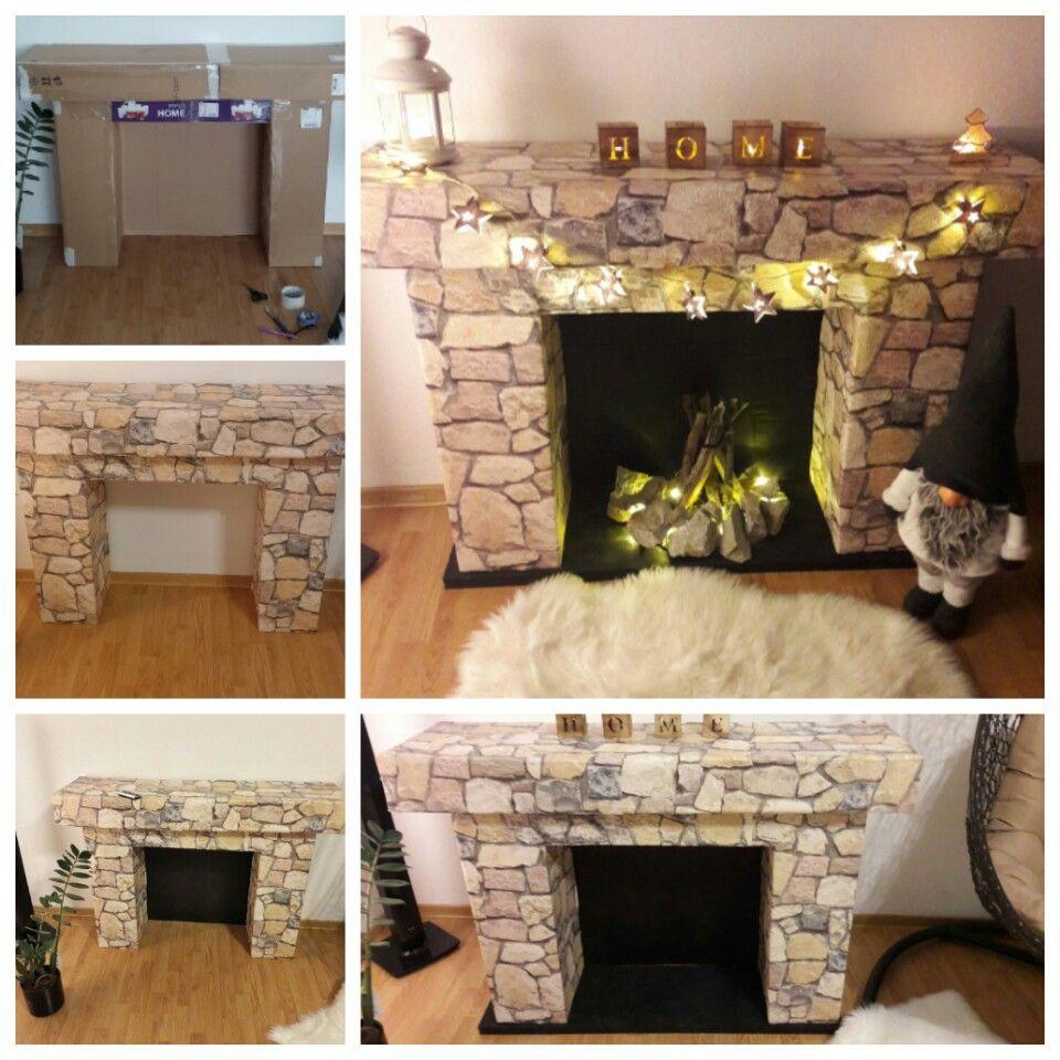 fireplace diy navod krb cardboards xmass decor krabica. Black Bedroom Furniture Sets. Home Design Ideas