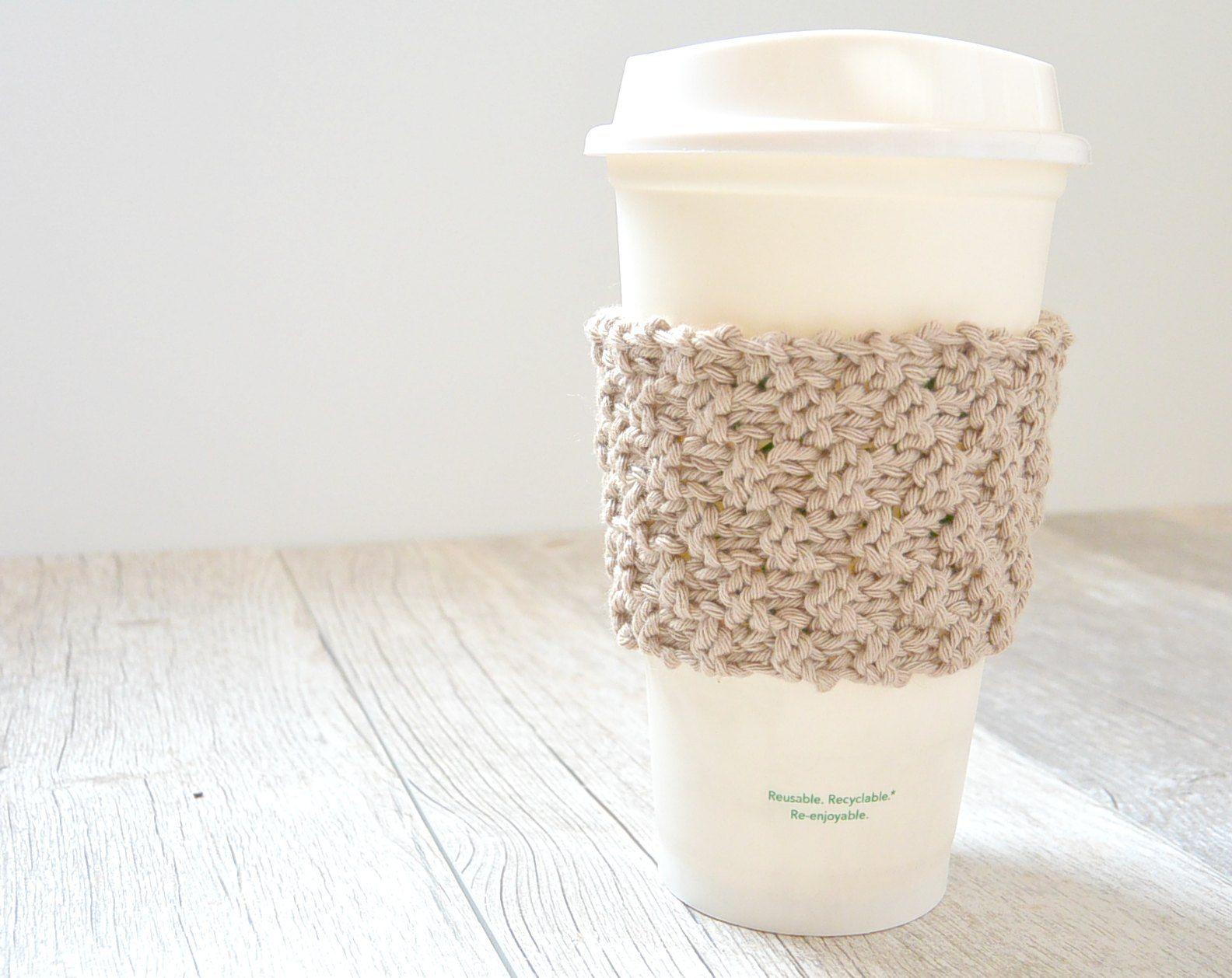 Double Seed Stitch Knit Coffee Cozy