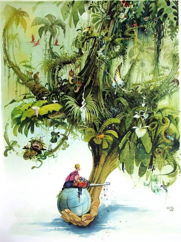 Cutting Down The Tree Of Life. Cartoon by Horst Haitzinger.