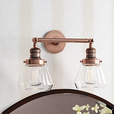 Photo of Brayden Studio Dupree 2-light dimmable vanity light finish: antique copper, color: clear